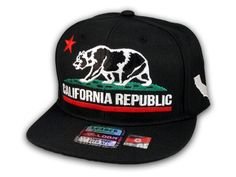 ★ This is a High Quality California Republic Bear on Black Baseball Snapback Cap! It's an adjustable Snapback with Flat Brim Visor, from Leader. It has California Republic Bear in 3D Embroidered Stitching! Underside of bill is Black. Back says California in White Stitching! Side has the California State Emblem in White Stitching! [$12.97]