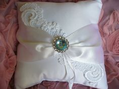 Wedding Ring Pillow with Venise Lace, Handmade by bridalambrosia