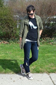 What I Wore Real Mom Style: Jeans and Tees My Spring Mom Uniform: Olive Utility Jacket / Dressy Tee from That Chic Mom Tees / distressed jeans / snakeskin sneakers