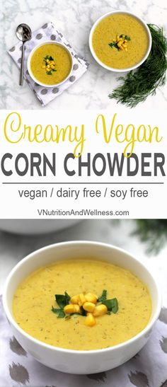 This velvety vegan corn chowder highlights the sweetness of fresh corn. The creaminess comes from potatoes so it's totally dairy free! Vegan Soups, Vegetarian Recipes, Cooking Recipes, Healthy Recipes, Vegan Corn Chowder, Corn Soup Recipes, Gula, Vegan Dinners, Healthy Eating