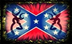 Rebel flag, camo border, and deer