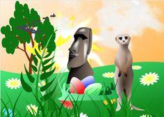 Osterinsel hinten. Erdmännchen rechts .Ostern .Osterglocken links. Sonne Vögel Leben. Himmel orange Orange, Easter Island, Heavens, Sun, Easter Activities, Life, Pictures