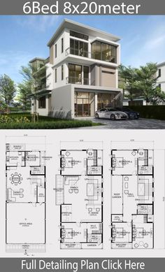 plan Home design plan with 6 bedrooms - Home Ideas Home design plan with 6 bedrooms. Three-story house Modern style, 6 bedrooms, 5 bathrooms, suitable for living Or doing Duplex House Design, Small House Design, Modern House Design, Home Design Floor Plans, Home Building Design, Building A House, House Construction Plan, Model House Plan, Architectural House Plans