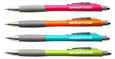 Antilop 2131A műanyag testű, nyomógombos mechanikus ceruza, recézett és gumírozott fogórésszel, fém clippel. Rendelhető színek: neon piros, kék, narancs, zöld. A grafit betét mérete: 0,5 mm. Kiszerelés: 12 db/doboz