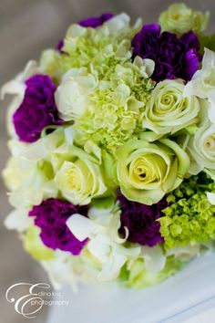 purple, green and white bridal bouquet (roses, hydrangeas, carnations)