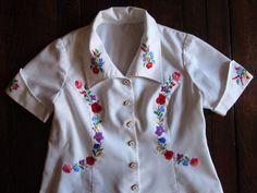 Sale! Vintage Hungarian Kalocsa Women's Blouse Hand Embroidered Floral L #HandmadeKalocsa