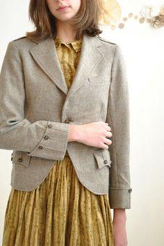 wool blazer + feminine dress
