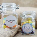 """3"""" Square Apothecary Craft Glass Jar Party Favor with Hinged Clamp Lids (12…"""