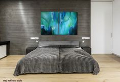 Large abstract wall art for aqua, teal or turquoise home or office decor. Colors also include green, white, violet, and black. Canvas prints are