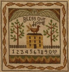 Bless Our Home Cross Stitch chart available at www.teresakogut.com/shop/patterns/cross-stitch/  New Release at Nashville Needleart Market 2015! ©Teresa Kogut #xs #nashville #folkart