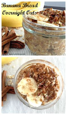 1/2 mashed ripe banana 1/2 cup rolled or steel cut oats (regular or gluten free) 1/2 cup milk of choice 2 T chopped pecans or walnuts 1 tsp vanilla extract 1/2 tsp cinnamon Dash of sea salt 1 T ground flax 2 tsp 100% pure maple syrup  Read more at http://www.bewholebeyou.com/2015/02/17/recipe-post-banana-bread-overnight-oats/#K0YZgih3goAuAmfs.99