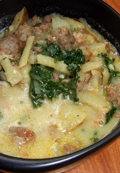Recipe For Spicy Tuscan Soup - try pureed white beans instead of cream. Copy Cat Olive Garden - This is my all-time, never-to-be-beat, absolute FAVORITE soup. This delicious soup tastes even better than Olive Garden's. Think Food, I Love Food, Food For Thought, Good Food, Yummy Food, Healthy Recipes, Crockpot Recipes, Soup Recipes, Cooking Recipes