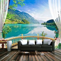 Cheap wall paper, Buy Directly from China Suppliers:Custom Photo Wallpaper Balcony Window Blue Sky White Clouds Lake Forest Scenery Living Room Sofa TV Backdrop Mural Wall Paper
