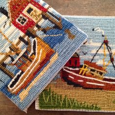 2 Nautical Needlepoint Maritime Fishing Boat Squares 5x5 Seagull Ocean Handmade