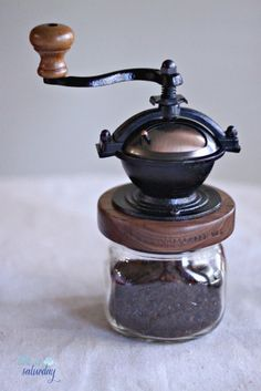 Like a Saturday makes French press coffee using the Steampunk Coffee Mill!