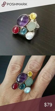 💍Gorgeous Multi Stone 925 Ring💍 So Unique and Beautiful 925 solid sterling silver Stunning geometric style ring with multi colored stones all over.   No trades No PP  YES to bundle discounts and offers!💋✌🏻️👜 Jewelry Rings