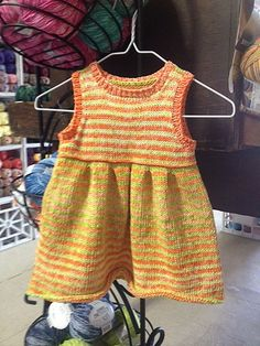 This dress comes in sizes 0-3 mos. to 18 mos. and is a fun knit! Pattern and yarn available at Yarn for Ewe!