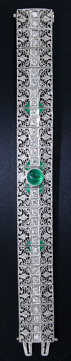 Full view: Antique emerald and diamond bracelet, circa 1910-1920. Via Diamonds in the Library.