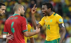 Morocco's Ahmed Kantari argues with South Africa's Bongani Khumalo. (Getty) Add World Football INSIDER on www.Twitter.com/WorldFBInsider & www.Facebook.com/WorldFootballInsider for the latest info on the world of #Football / #Soccer.