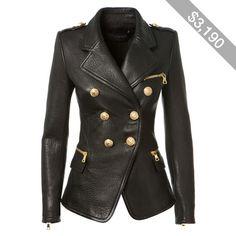Balmain Black Textured Leather Blazer