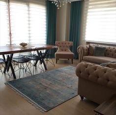 Salon, Yemek Odası, Halı, Mavi, Kahverengi, Berjer, Ahşap, Köşe koltuk, Fon perde, Masif ahşap