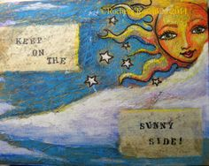 "Items similar to Sun face Original art 7 x 9 "" mixed-media on canvas board ""Solar Goddess"" series.CaaT on Etsy"