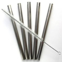 bar habitu� - Super Sized Stainless Steel Drinking Straws for Bubble (Boba) Tea, Chunky Milkshakes, and Healthy Smoothies, Set of 5 Reusable Straws with Extra Long Cleaning Brush Included.