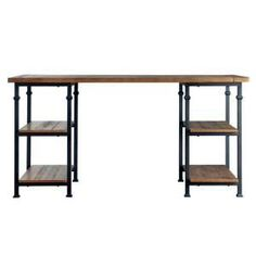 HomeSullivan 60 in. Rectangular Natural Writing Desk with Built-In Storage - The Home Depot Industrial Office Space, Industrial Desk, Rustic Industrial, Rustic Writing Desk, Rustic Desk, Desk Storage, Built In Storage, Home Depot, Home Office