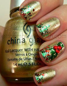 China Glaze Midnight Kiss Holiday Nail Art