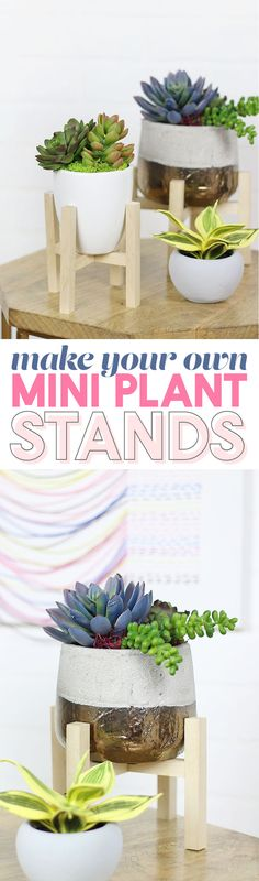 DIY Mini Plant Stand - make your own modern mini plant stand easy to make with just a few supplies from Hobby Lobby #ad #HobbyLobbyStyle #HobbyLobbyMade