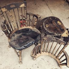 I'd already started disassembling the chairs before I remembered to take a before pic.stay tuned to see what happens to these two old chairs! Old Chairs, Trash To Treasure, Refurbished Furniture, Stay Tuned, Tortoise, Repurposed, Diy, Home Decor, Tortoise Turtle