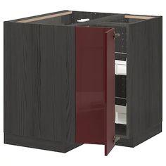 METOD black Kallarp, high-gloss dark red-brown, Corner base cabinet with carousel, cm - IKEA Ikea Corner Cabinet, Dark Red Brown, Plastic Foil, Dry Goods, Base Cabinets, White Ceramics, Angles, Kitchen Cabinets