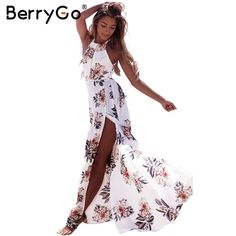 $50.69 - Nice BerryGo Floral print halter chiffon long dress Women backless 2017 maxi dresses vestidos Sexy white split beach summer dress - Buy it Now!