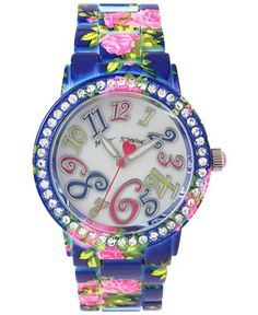 Betsey Johnson Women's Pink Floral Printed Blue Stainless Steel Bracelet Watch 42mm BJ00482-08 - Watches - Jewelry & Watches - Macy's