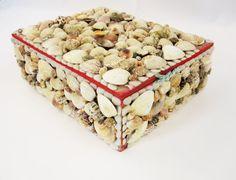 $95. A Kitschy-Kool Trinket Box Covered in Shells - Large Box With Lid - Sea Shells - Fun Stash and Store Box - Keepsake Box