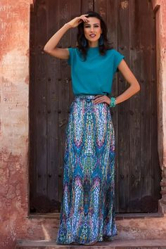 Shabby Apple modest teal, purple, and blue outfit with the Mosaic Maxi Skirt