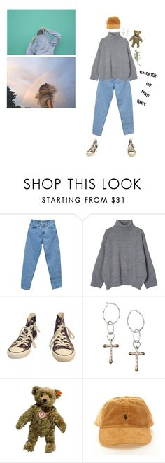 """e n o u g h"" by eggtartt ❤ liked on Polyvore featuring Pull&Bear, Converse, Lucky Brand, Steiff and vintage"