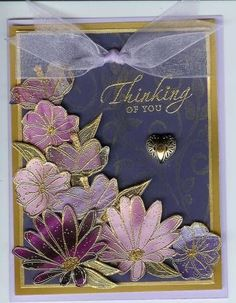 from Splitcoaststampers posting: Stamp images on shiny magazine or catalog paper with Versamark and emboss with gold powder.I glue them to cardstock to give them more body and cut out. Layer on cardstock with dimensionals. In Full bloom. Stamping Up Cards, Rubber Stamping, Embossed Cards, Beautiful Handmade Cards, Card Making Techniques, Sympathy Cards, Flower Cards, Creative Cards, Greeting Cards Handmade