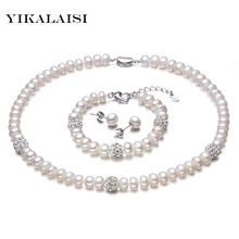 YIKALAISI 2017 New White Color Pearl necklace Sets 8-9mm White Natural Pearl Jewelry 925 sterling silver jewelry For Women //Price: $US $26.00 & FREE Shipping //     #hashtag2