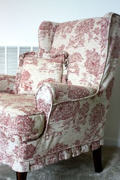 Red Toile Wing Chair | twill slipcover studio