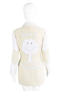 View this item and discover similar for sale at - An incredibly rare jacket from Franco's last collection in Ecouture, a nature friendly line. Franco Moschino, Save Nature, Tree Logos, Couture Jackets, Hip Ups, Fashion Labels, Love Heart, Disney Princess, Collection