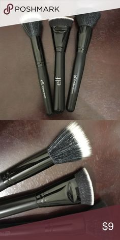 Set of 3 ELF face brushes Set of 3 ELF face brushes, used once and washed and I just never used them again because I have so many other brushes in my collection. These are great synthetic brushes. These brushes don't shed either, in perfect condition. Includes 1 small stippling duo tone bristle brush, 1 flat top powder brush, and 1 contouring brush with duo tone fibers. I really enjoy the duo tone fibers because you can see how much product you have on them. Price negotiable if purchased…
