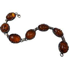 Vintage Sterling Silver Baltic Amber Link Bracelet