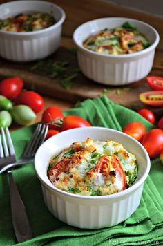 Make these garden-fresh Tomato, Spinach, and Feta Egg White Souffles in under 30 minutes. This healthy breakfast recipe is perfect for busy weekday mornings when you want to start your morning off with something hearty and filling.
