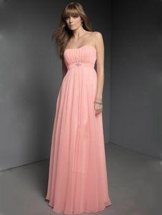 Lightpink strapless column style simple chiffon spring bridesmaid dress - Bridesmaids - Wedding Party Dresses