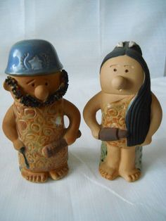 Caveman  Cop and Wife Salt and Pepper Shakers  by DEWshophere