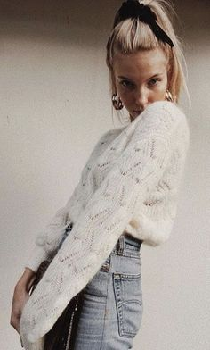 white snuggly sweater - fall and winter style