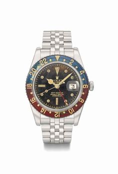Rolex. A very rare and attractive stainless steel automatic dual time wristwatch with sweep centre seconds, date, bracelet, 'tropical' dial and bakelite bezel, manufactured in 1957 #ChristiesWatches
