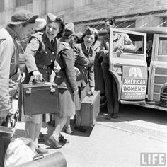 June 1942  - Mobile Sewing Unit of AWVS --- The American Women's Voluntary Services (AWVS), founded in 1940,  was the largest American women's service organization in the US during WWII.  Women volunteers provided support services to help the nation during the war such as message delivery, ambulance driving, selling war bonds, emergency kitchens, cycle corps drivers, dog-sled teamsters, aircraft spotters, navigation, aerial photography, fighting fires, truck driving, and canteen workers.