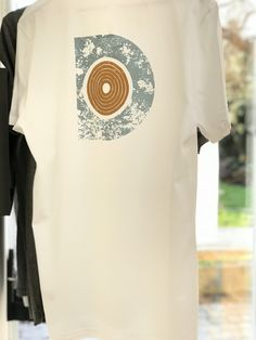 This unique design is part of the Component collection by the designer.Dot Component is screen printed by hand in two colours with soft to the touch water based textile inks. The design is on the back. Textile Products, White Cotton T Shirts, Textile Design, Screen Printing, Textiles, Etsy Shop, Trending Outfits, Printed, Clothing